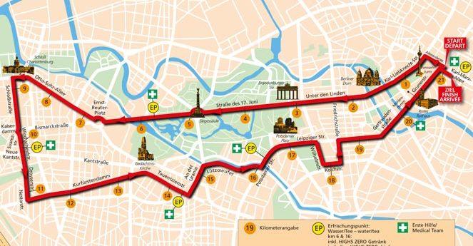 Løypen i Berlin halvmaraton